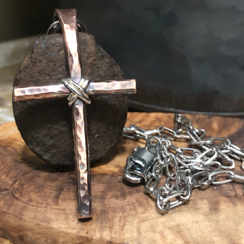 Sterling  Wrapped Copper Cross Necklace