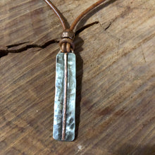Sterling and Copper Leather Choker