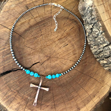 Navajo Pearl Kingman Turquoise Cross Necklace