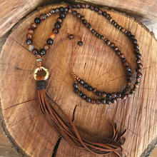 Red Tiger Eye Leather Tassel Necklace