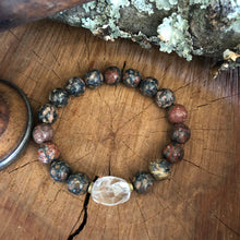 Leopard Skin Jasper and Quartz Bracelet
