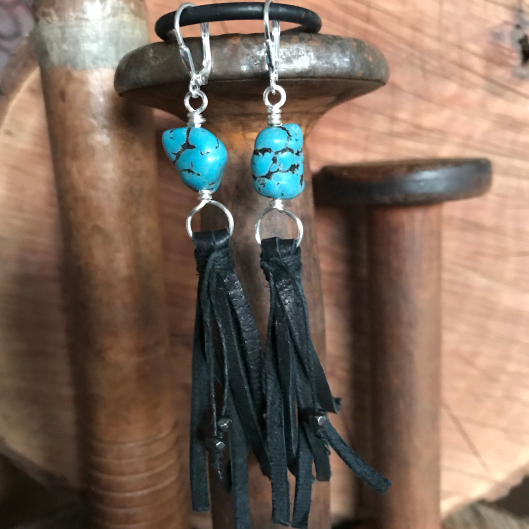 Turquoise Nugget Leather Tassel Earrings