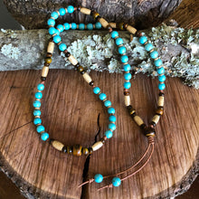 Turquoise Howlite and Ox Bone Necklace