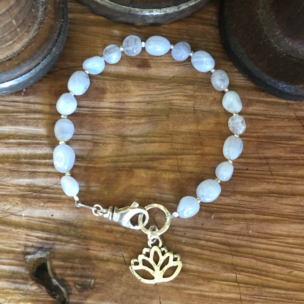 Natural Blue Chalcedony Lotus Bracelet