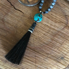 Turquoise and Horsehair Tassel Necklace