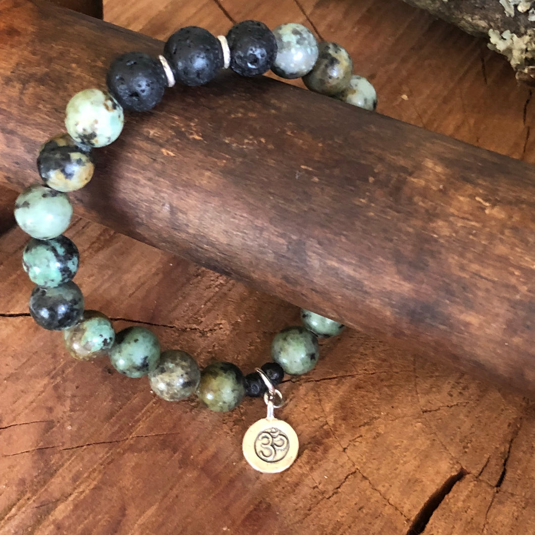 African Turquoise Sterling Om Charm Diffuser Bracelet