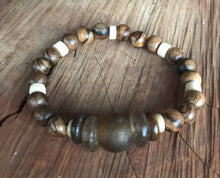 Flower Nanmu Wood & African Glass Stack Bracelet