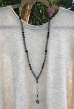 Matte Labradorite & Mykonos Medallion Necklace