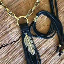 Leather Tassel Necklace With Feather Charm