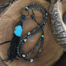 Sea Sediment Turquoise Howlite Leather Tassel Necklace