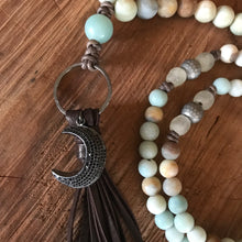 Matte Amazonite Crescent Moon Tassel Necklace
