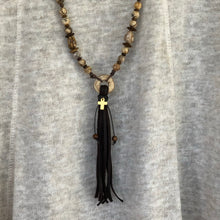 Picture Jasper Leather Tassel Necklace