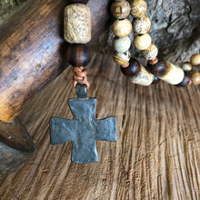 Picture Jasper Maltese Cross Rosary Necklace