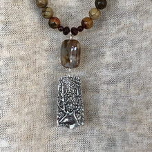Jasper and Garnet Deer Head Pendant Necklace