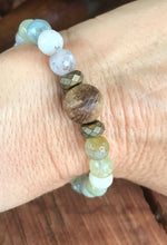 Natural Aquamarine & White Wood Stack Bracelet