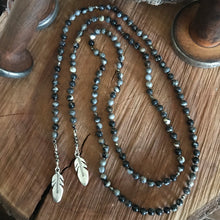 Black Silver Leaf Jasper Feather Lariat