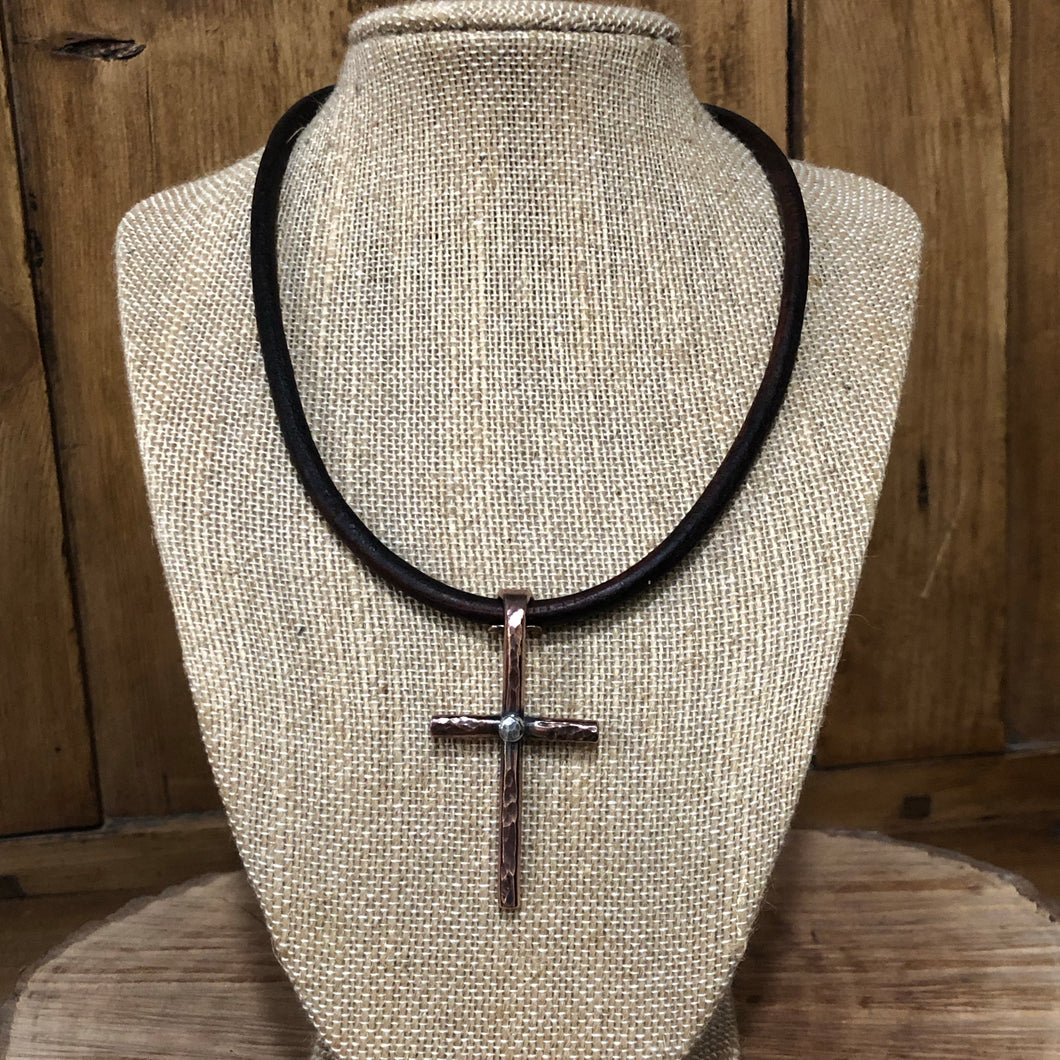 Copper and Sterling Cross Leather Choker