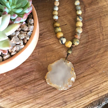 Matte sliced agate necklace