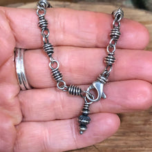 Sterling Wire Wrapped Link Navajo Wheel Charm Bracelet