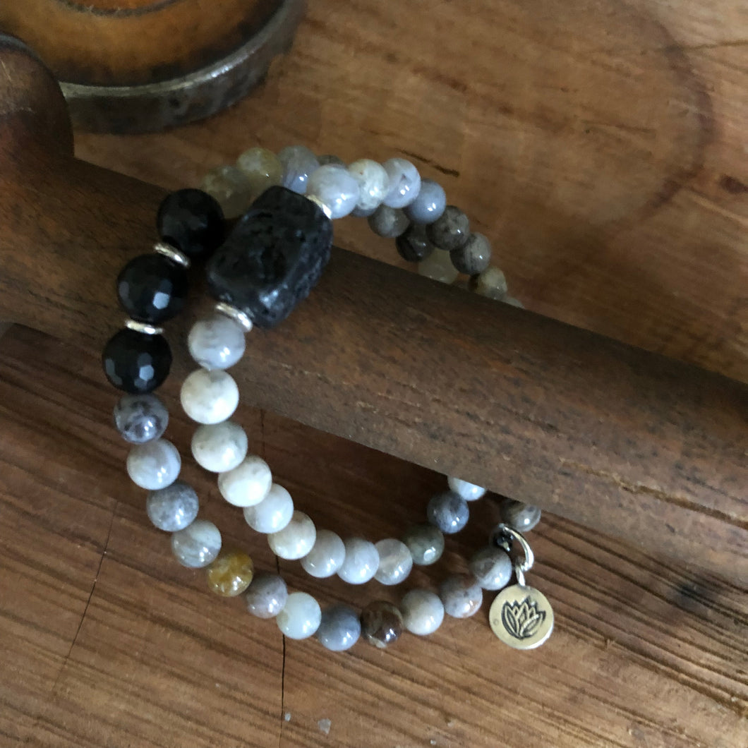 Bamboo Leaf Agate Double Wrap Diffuser Bracelet