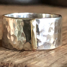 Hammered Sterling Brass Bar Ring