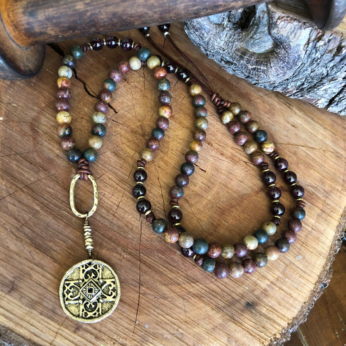 Picasso Jasper Tribal Cross Necklace
