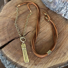 Antique Brass and Leather Bar Cross Necklace