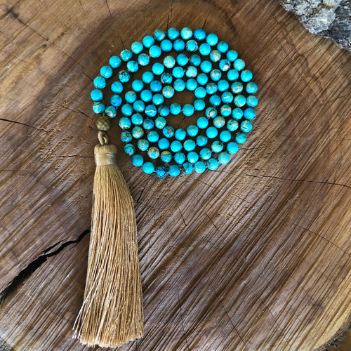 Aqua Impression Jasper Mala Necklace