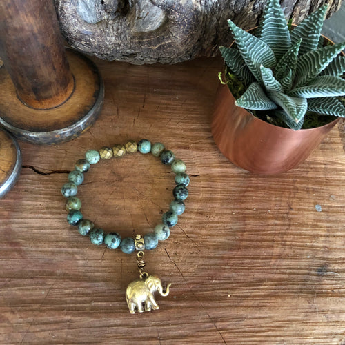 African Turquoise Brass Elephant Bracelet