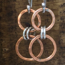 Copper And Sterling Circle Earrings