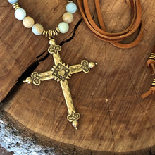 Amazonite and Leather Cross Necklace