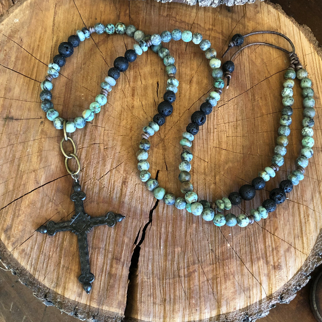 African Turquoise Diffuser Cross Necklace