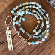 Amazonite Bar Cross Necklace
