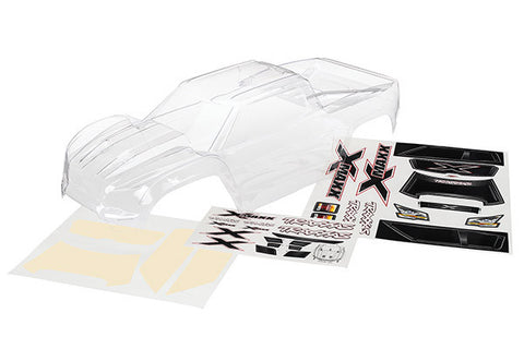 TRA7711     Body, X-Maxx (clear, trimmed, requires painting)/ window  masks/ decal sheet