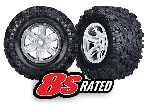 TRA7772R Tires/Wheels Assembled/Glued X-Maxx 8S Rated (2) satin chrome