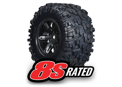 TRA7772X Tires/Wheels Assembled/Glued X-Maxx 8S Rated (2)