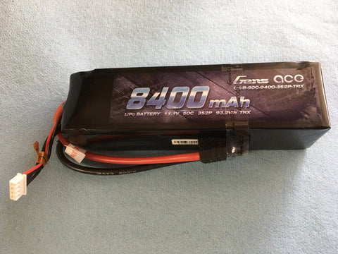 Gens Ace 8400MAH 11.1 50C 3S2P Lipo with Traxxas Connector
