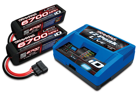 Dual 4S Combo, Traxxas EZ-Peak Live 12Amp Charger\Bluetooth, 2  4S 6700mAh 14.8V 25C iD Batteries
