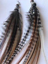 Natural & Wood Bead Feather Earrings