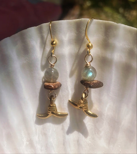 Brass Labradorite Earrings