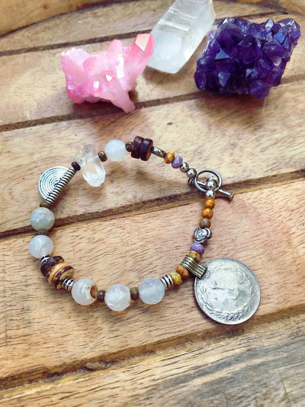 Clear Quartz and Coin Boho Bracelet