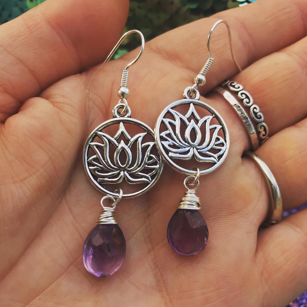 Amethyst Lotus Earrings