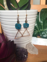 Blue Apatite Triangle Earrings