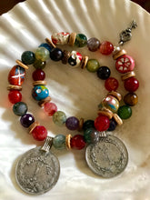 Mixed Gemstone Coin Bracelet