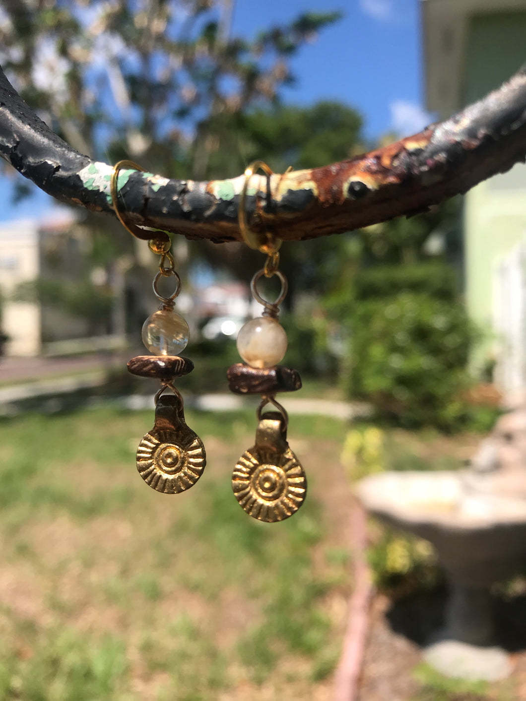 Brass Sun Earrings