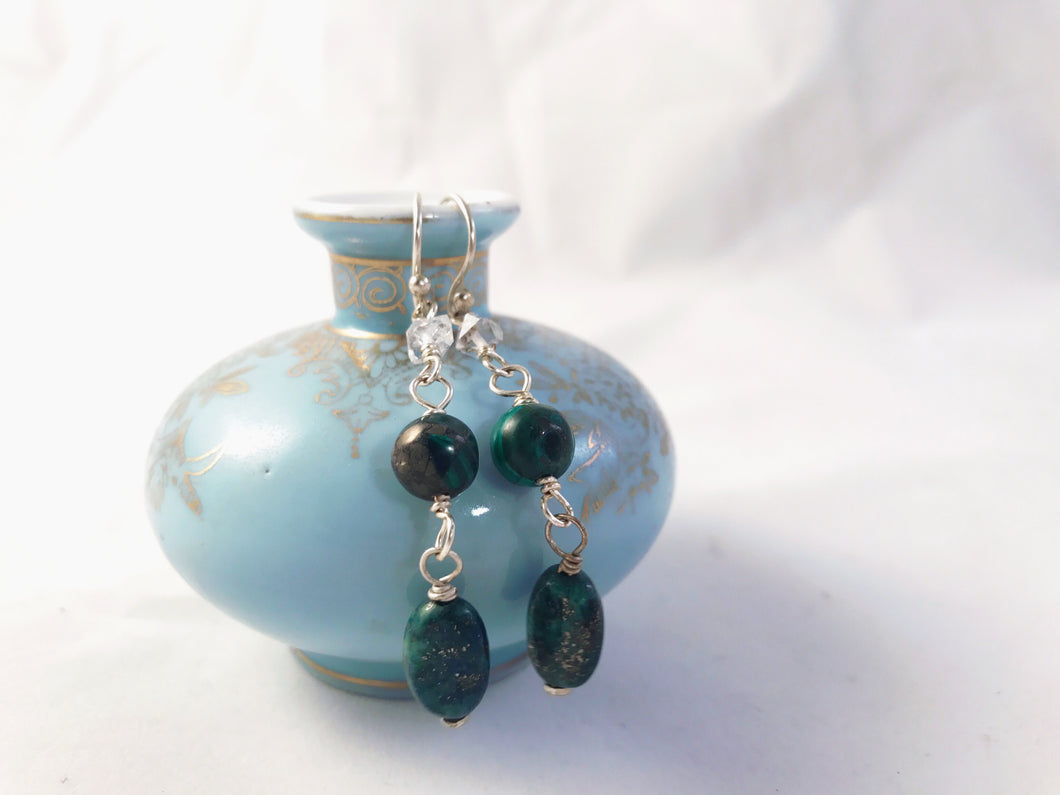 Malachite and Herkimer Diamond Earrings