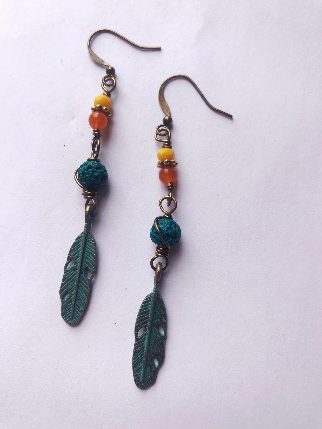 Rustic Feather Earrings