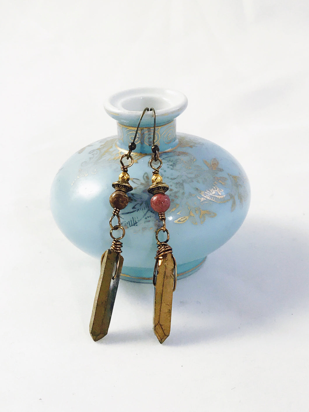 Gold Titanium Quartz & Fancy Jasper Earrings