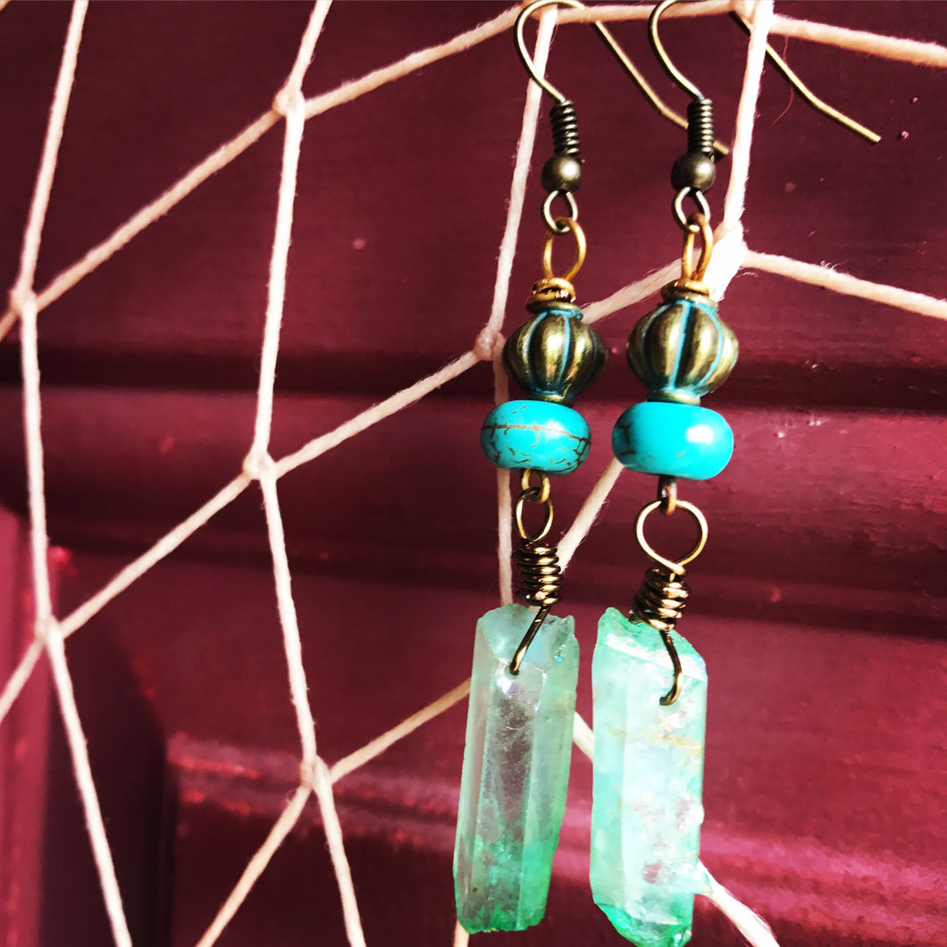 Green Apple Aura Earrings