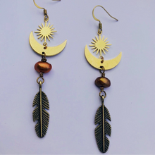 Brass Pearl & Sun Earrings